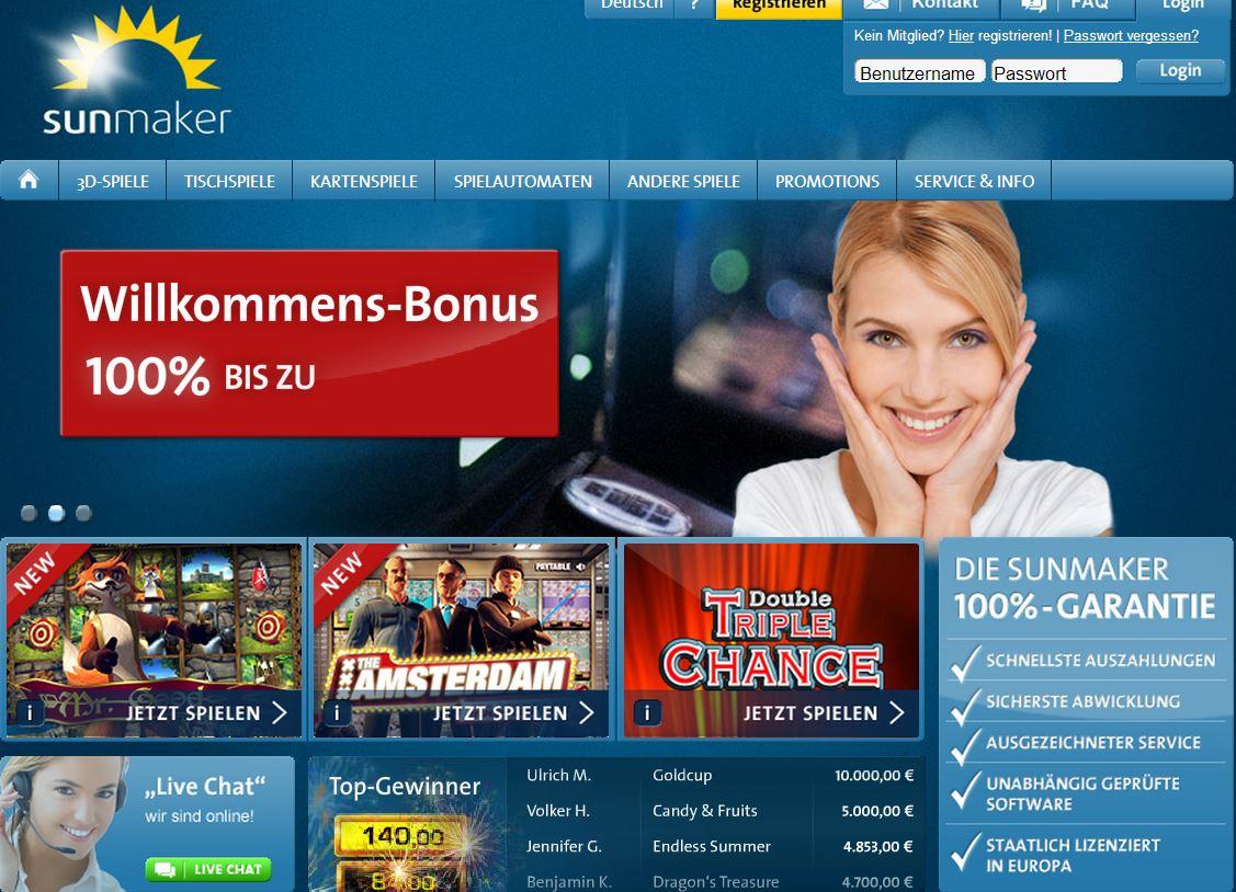 Sunmaker Online Bewertungen mit Promotionen und Boni